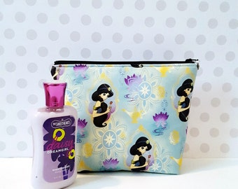 Princess Jasmine  Large Makeup Pouch / Holding Flowers