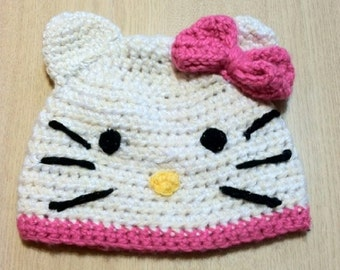 Crochet Hello Kitty Hat for Child to Adult