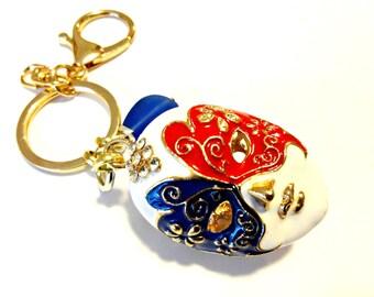 Masquerade Mask Keychain, Cobalt Blue Sea Glass Keychain, Venetian Masquerade Mask Pendant, Masquerade Accessory, Car Accessories, Car Decor