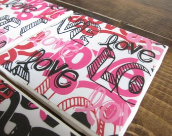 Set of 4 Love Tile Drink Coasters