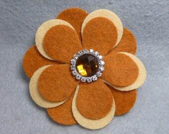 Felt Flower Brooch - Yellow Flower Pin, Felt Pin, Felt Brooch, Fabric Flower, Felt Flower Pin, Felt Jewelry