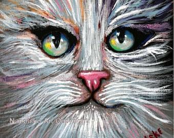 "Fine Art Print  ""Tuxedo Cat Face""   Print by Napolske Art Painting"