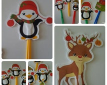 Christmas party picks , christmas food picks, plastic, cupcake toppers, toppers, food picks, penguin party picks, reindeer party picks