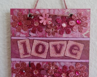 Wall Art Home Decor Gift Mixed Media Collage Original Art Inspirational Love Valentine's Day Love You More