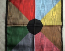 """1970's Silk hand rolled Scarf 18"""" Square Colorful Abstract Wood Grain Octagon Design Pink Black red blue made in Italy"""