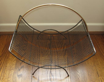 Vintage Mid Century Modern Perforated Punched Metal Magazine Holder Rack