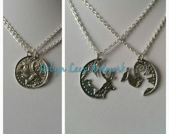 Silver Deer Stag Coin Best Friends Couples Necklace Set of 2 Necklaces on Silver Crossed Chain