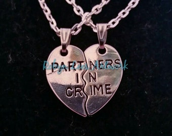 Small Silver Partners In Crime Friendship Couples Valentines Split Heart Necklaces on Silver Chain