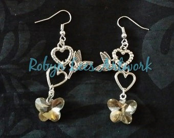 Mocha Crystal Butterfly Earrings with Silver Hearts and Hummingbirds on Hooks