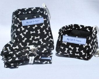 Portable Packable Collapsible Pet Dish Water Bowl Black Dog Bones