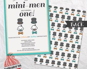 Mini Men Twin Birthday Party Invitation