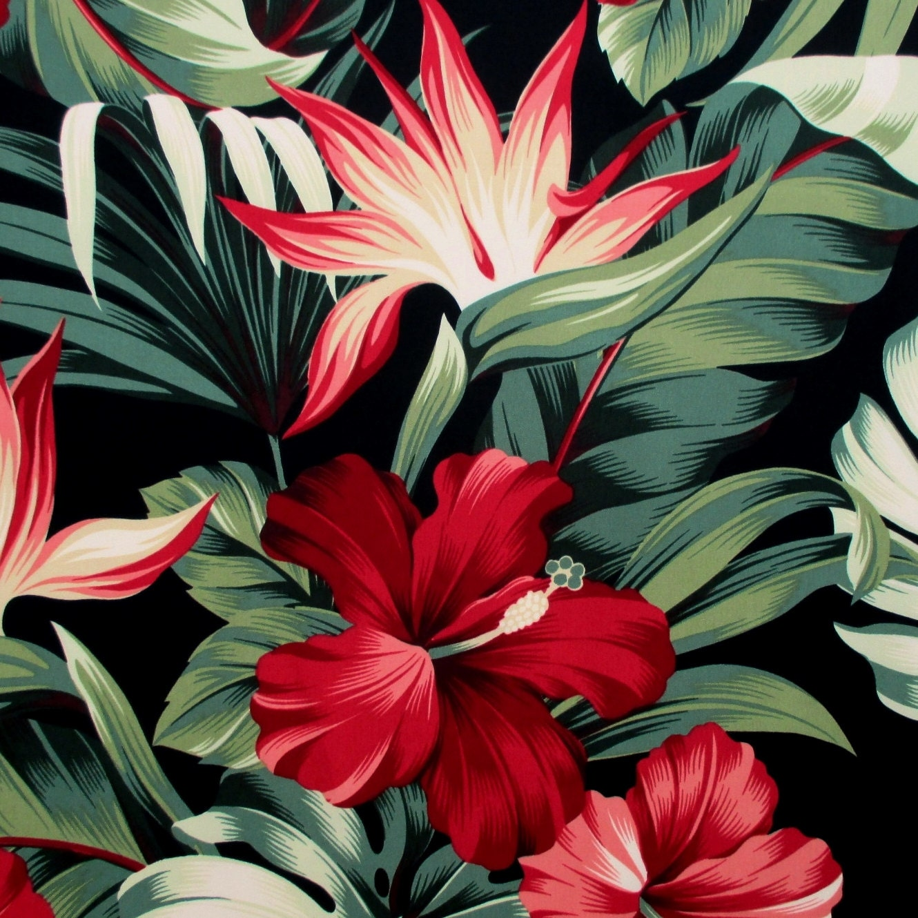 Fabric Red Hibiscus Floral On Black Tropical Hawaii