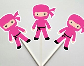 Ninja Cupcake Toppers, Girl Ninja Cupcake Toppers