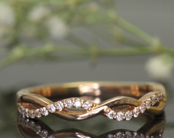 Hailey Rylie - Diamond Wedding Band in Rose Gold, Round Brilliant Cut, Pave Set Open Twist Design, 1/2 Eternity Style, Free Shipping
