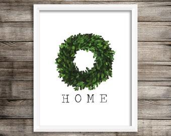 Home Boxwood Wreath (Watercolor Printable) - Digital Print File