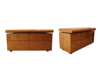Pair of Mid Century Modern Lacquer Birdseye Maple Dressers by Saporiti Italia