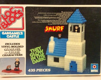 1982 Smurf Loc Blocs Gargamel's Glow In The Dark Castle, Smurf Toys, Smurf Castle, Entex Toys, Smurf Collectibles, Garagmel& Azrael Toy