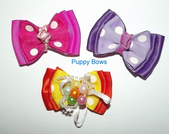 Puppy Bows ~ triple loop dog bows for girls pink purple orange dots barrette or band dog grooming bow
