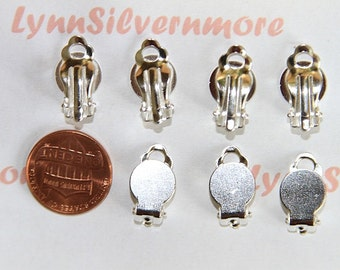 20 pcs  or 12 pair of 9 mm Glue On Clip on Earring Finding Silver Finish Copper Silver Plated