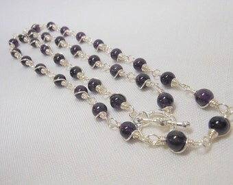 Amethyst Wired Wrapped Necklace or Triple Wrap Bracelet