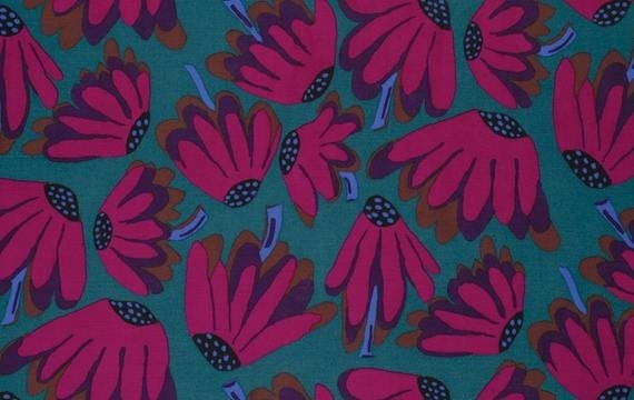 LAZY DAISY Charcoal RETIRED Dark BM044 Brandon Mably - Kaffe Fassett Collective - Sold in 1/2 yd increments