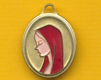 Antique French Art Modern years 60 red enamel  Religious Medal Portrait of Virgin Mary Lourdes (ref 0610)