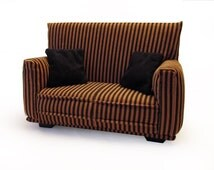 """Barbie Doll Furniture - Sofa with Pillows - 1:6 scale-Brown/Black striped with Black pillows-also works w/any Blythe and 11"""" fashion doll"""