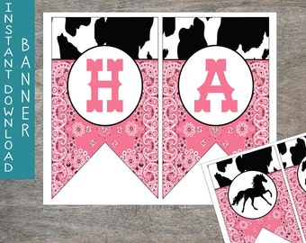 Cowgirl Rodeo Happy Birthday Pennant Banner printable digital file | Cow Print Bandana Western Rustic Birthday Party INSTANT DOWNLOAD