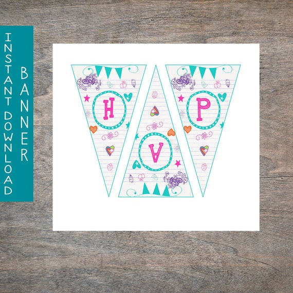 Teal Doodle Happy Birthday PENNANT BANNER By