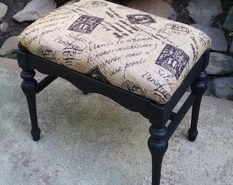 Black Vanity Bench / Black Piano Bench / Vanity Bench with Cushion / Upholstered Bench / Vintage Vanity Bench / Black Ottoman / Vanity Seat