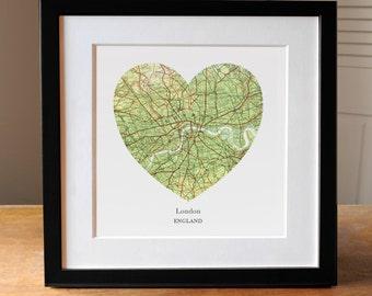London Heart Map, Square Heart Map, Framed Heart Map, Map of London, London Art, London Gift, Travel Lover Gift