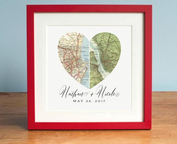 Wedding Gift Art : Anniversary Gift, Wedding Gift Art, Heart Map, Custom Wedding Gift ...