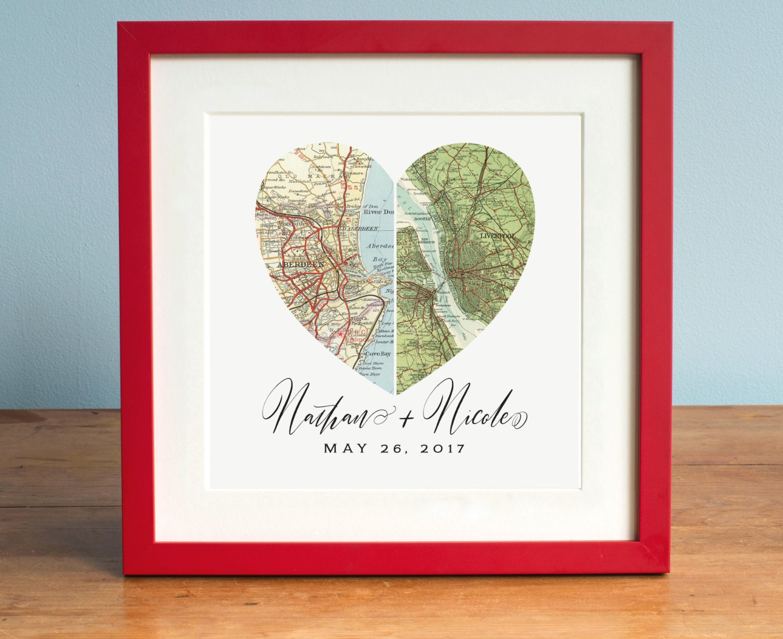 Wedding Gift Paintings: Anniversary Gift Wedding Gift Art Heart Map Custom Wedding