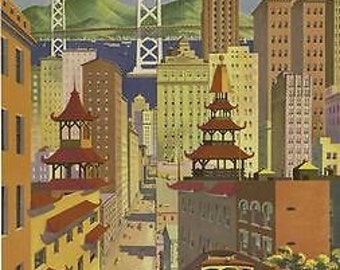 1950's United Airlines San Francisco Travel Poster A3 Reprint