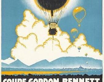 Vintage 1922 Gordon Bennett Balloon Race Belgium Poster A3 Print