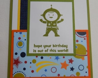 Space Boy and Planets Birthday Card