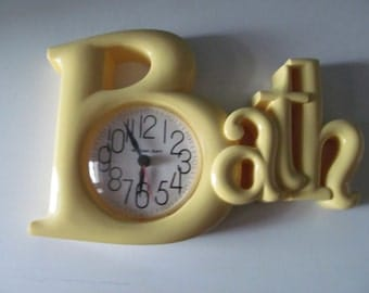 Vintage / Retro 1983 Yellow And White Bath Bathroom Clock By Burwood Products