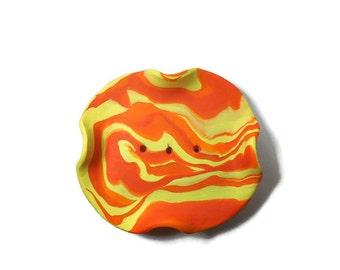 Orange and Yellow Soap Dish - Draining Soap Dish - Handmade Soap Dish - Gift under 15