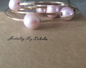Pink Freshwater Pearl Gold Filled Bangle Size 8