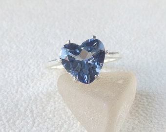 R287 Blue Mystic Quartz Genuine Natural Heart Solitaire Style Ring set in Sterling Silver