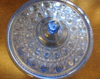 Vintage LE Smith Moon and Stars Blue Round Dish with Lid