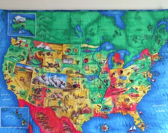 USA Map, Quilted Wallhanging, Family Gift, Vacation Tool, Quilt of North America, Teacher Gift, Christmas Gift, Quiltsy Handmade