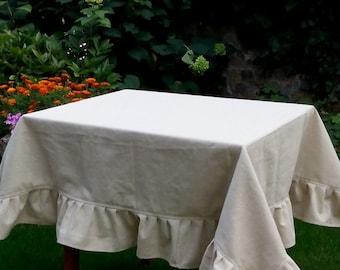 Burlap Ruffled Tablecloth Wedding Table Decor Ruffled Tablecloth Burlap  Table Cover