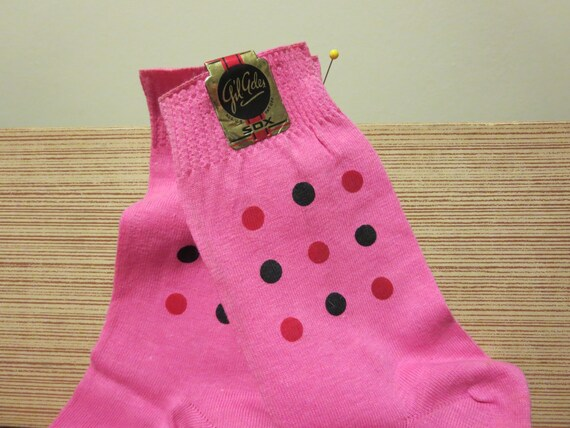 1950s Socks- Women's Bobby Socks Vintage 1950s 1960s NOS pink socks polka dots 100% cotton anklets stockings Gil Ades Sox $18.00 AT vintagedancer.com