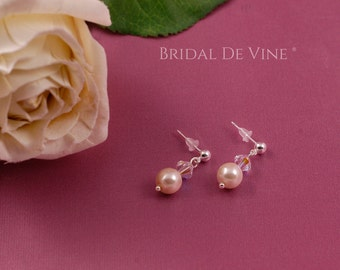 Bridal Pearl and Crystal Dangle Earrings. Bridesmaids Gift White Ivory with CRYSTALLIZED™ - Swarovski Elements