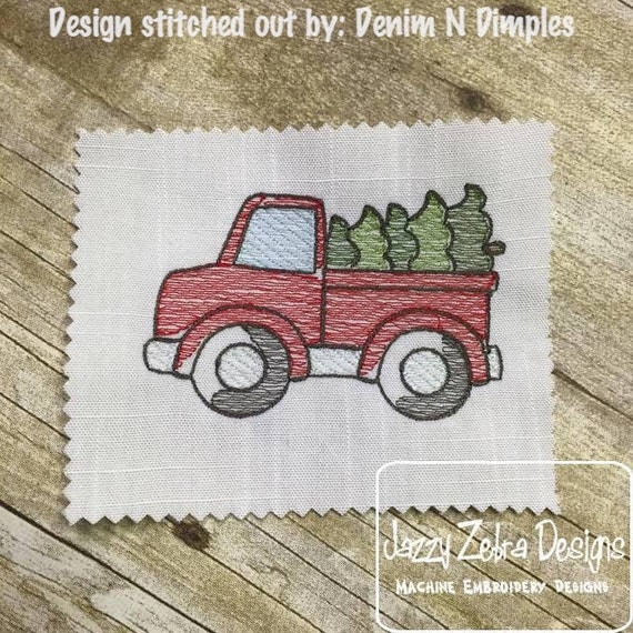 Truck With Christmas Tree Sketch Embroidery Design Truck