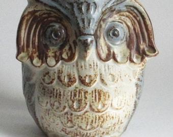 70s Ceramic Japanese Painted Pottery Owl Vase Jar