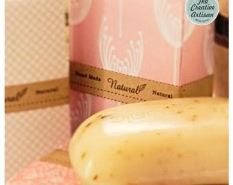 "24 Kraft ""Handmade Natural Ingredients"" Rectangle Sticker Food/Cosmetics/Handmade/Scrapbooking"