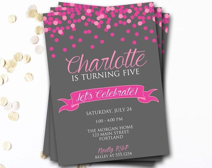 Confetti Birthday Invitation, Pink Birthday Invitation, Pink And Gray, Confetti Invite, Girl Birthday, DIY Printable
