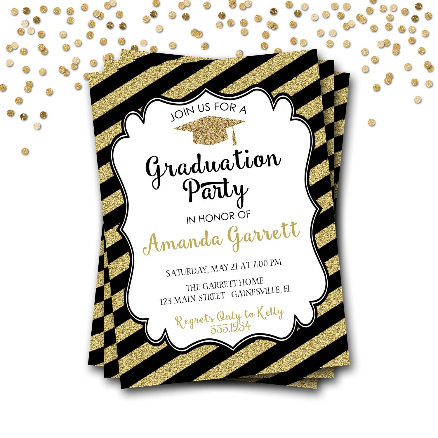 Black and Gold Graduation Invitation Gold Graduation Invitation – Black and Gold Graduation Invitations